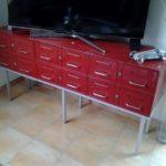 meuble metallique - 12 tiroirs - couleur rouge