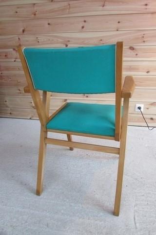 auteuil annees 50 bois et vinyle vert vue de l'arrière
