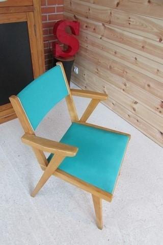 auteuil annees 50 bois et vinyle vert vue de dessus