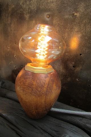 decoration industrielle lampe champignon creation Crea Broc and Co lampe allumee